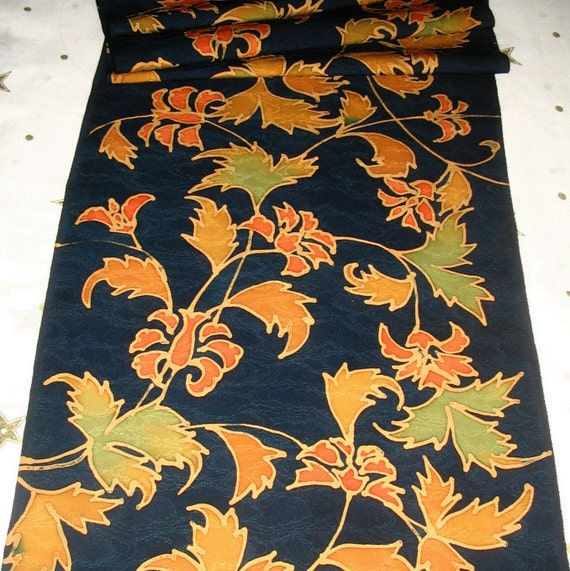 Vintage Japanese Kimono Silk Flowing Autumn Oriental Scrolling Leaves and Flowers 60ins long