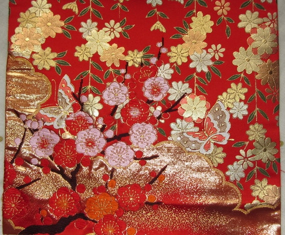Vintage Japanese Kimono Uchikake Silk Woven Plum Blossom Branch and Golden Cloud and Printed Trailing Blossom and Butterfly