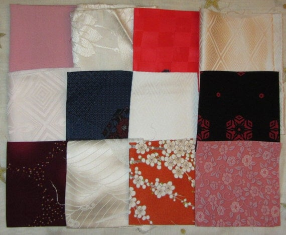 Vintage Japanese Kimono Fabric Mixed Silk Wool Synthetic Patchwork Pieces Pack6