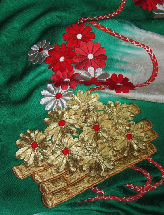 Vintage Japanese Kimono Silk Embroidery Colourful Red Silver and Gold Chrysanthemum Flowers, Gold Flute and Cord