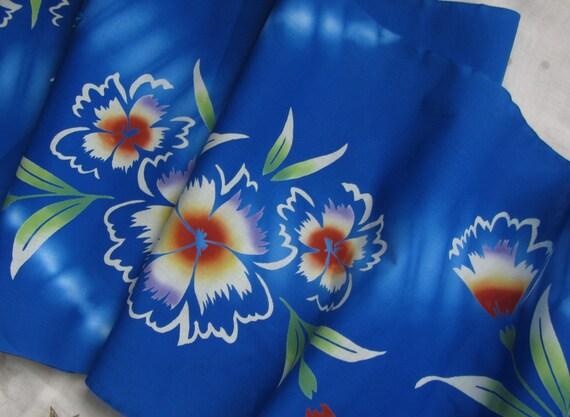 Vintage Japanese Yukata Kimono Cotton Big Bold Flower and Dyed Zig-zag on Blue 84ins