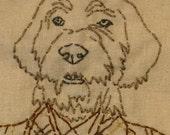 40% off SALE- Dog wearing Coat Embroidery - Howard in Tweed - Sewn Pet Portrait