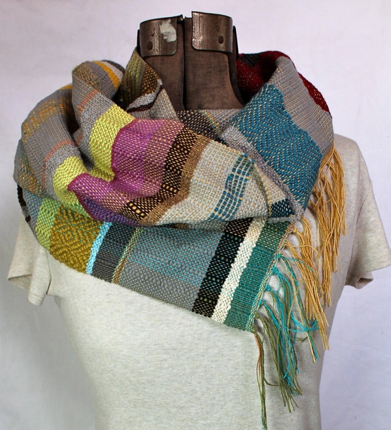 Corinne- Grey, Magenta and Peacock Handwoven Scarf