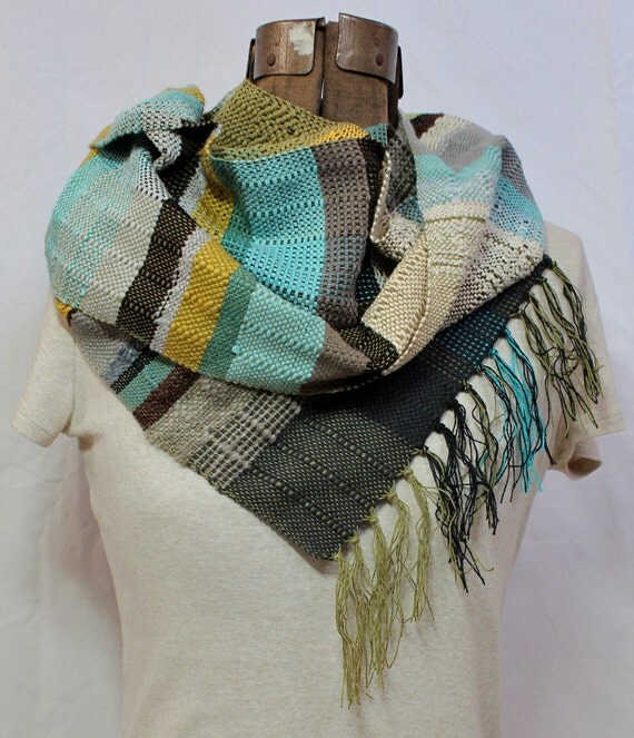 Jordan- Handwoven Olive and Seafoam Scarf - Organic Cotton and Merino Wool Woven - Funky Striped Scarf