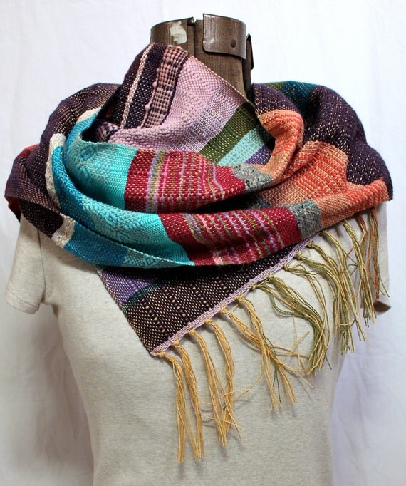 Maya- Handwoven Teal and Purple Scarf