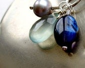 Blue Moon Pendant and Chain. Sapphire Spectrolite and Pearl