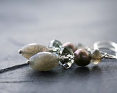 Cloudburst Earrings. Pearl. Labradorite. Swarovski