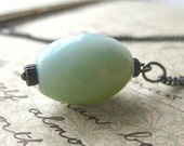 Pendant Necklace - Amazonite - Oxidized Silver - Precious
