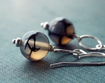 Web Agate Spooky Earrings. Ghost. Silver. Handcrafted