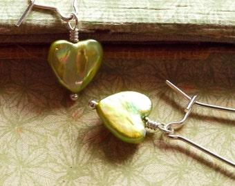 Pearl Heart Earrings. Chartreuse. Silver