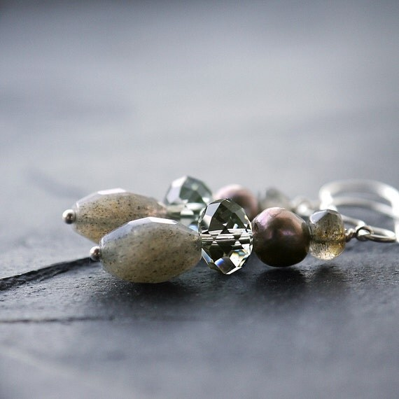 Cloudburst Earrings. Pearl. Labradorite. Swarovski