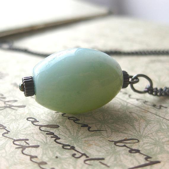Pendant Necklace - Amazonite - Oxidized Silver - Precious