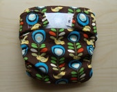 NEW-Cloth Diaper Cover- Corduroy birds and flowers- medium