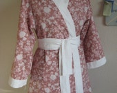 English Garden Pink Cotton Robe - Small