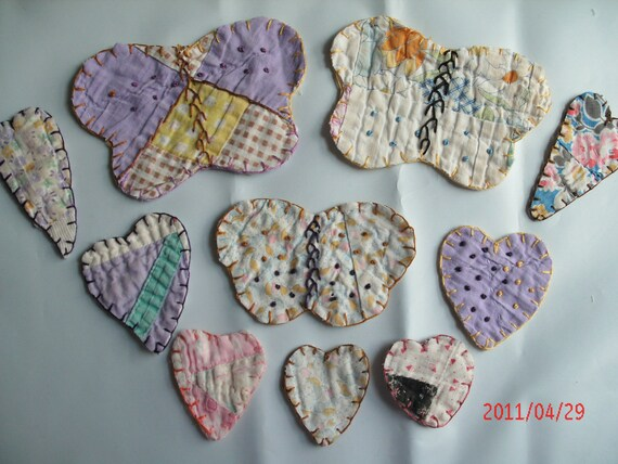 VINTAGE QUILT BUTTERFLY  and heart applique set embroidered edges for Cassy