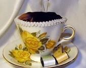 Yellow Roses Tea Cup Pin Cushion