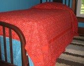 Vintage red bandana twin bedspread and curtains