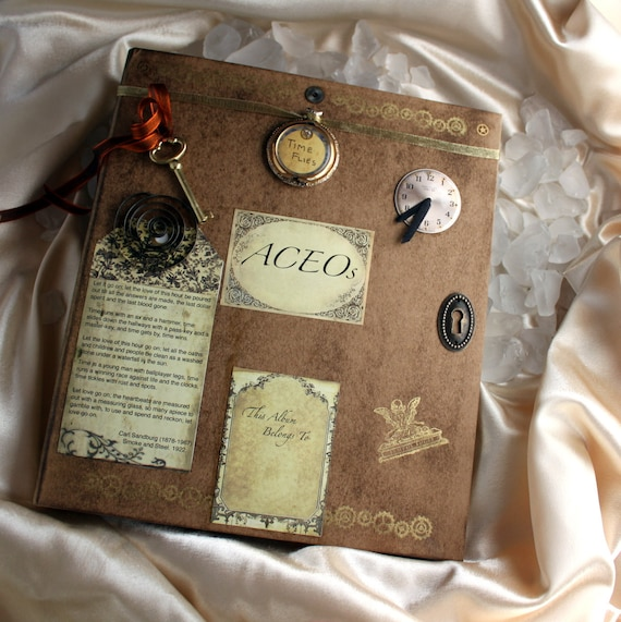RESERVED for Kristy:  Time Flies Steampunk ACEO Album OOAK Recycled Embellished