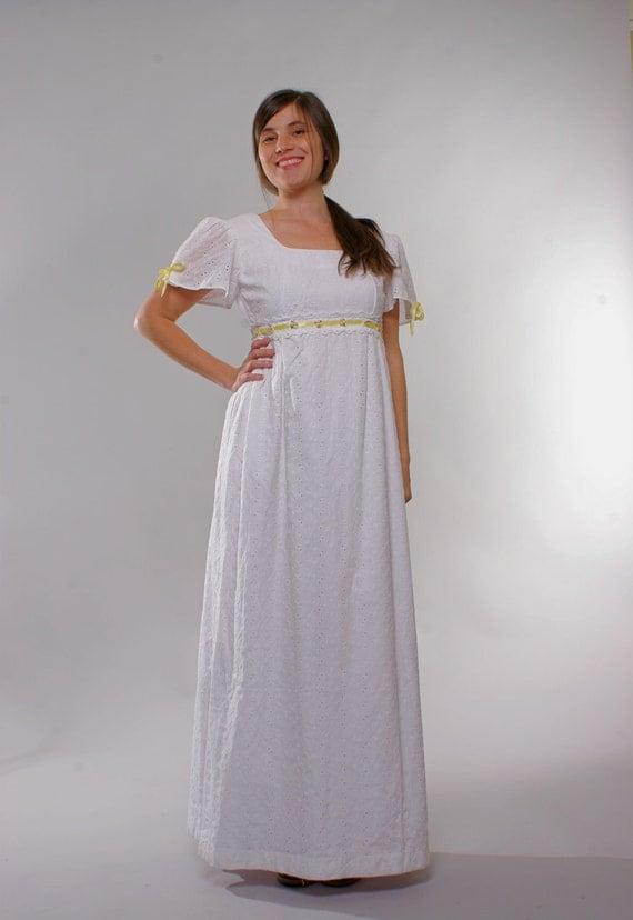 Vintage 70s Eyelet Empire Waist Dress with Yellow Satin Floral Trim