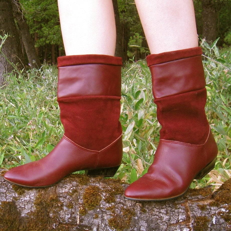 maroon suede pixie boots size 8 5 9