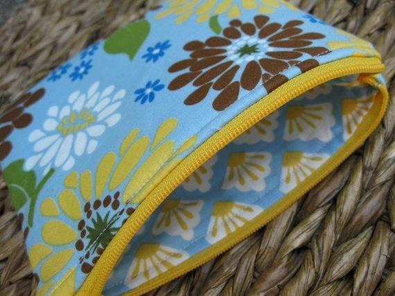 SALE - Medium Zip Pouch - Sunshine and Flowers