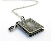 Antique Silver Book Locket Necklace, Reading Glasses, Memento, Avid Reader, Picture Frame