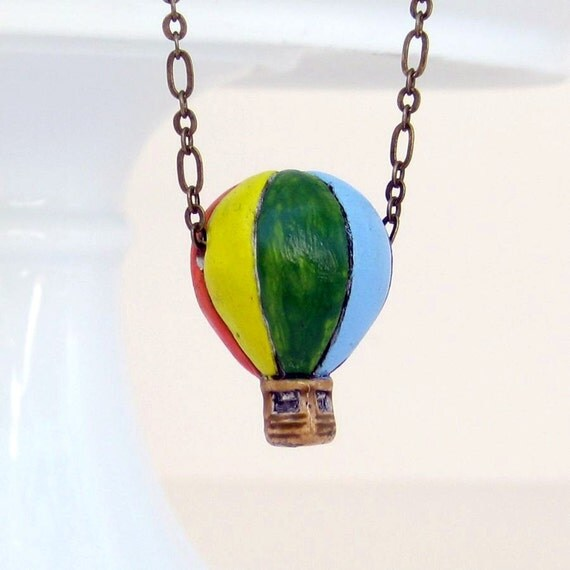 FREE SHIPPING SALE / Black Friday Etsy, Cyber Monday Etsy, Hot Air Balloon Necklace, Ceramic, Yellow, Orange, Red, Green, Blue