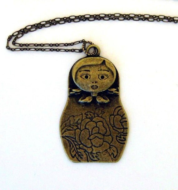 Matryoshka Necklace, Russian Doll, Babushka, Russian Icon, Antique Brass Details