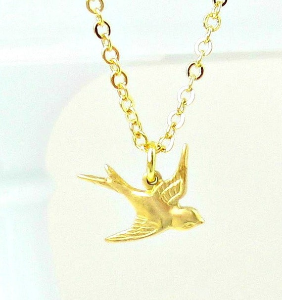 Soaring Sparrow Gold Necklace, Bird, Swallow, Return to Capistrano, LIttle Bird Charm