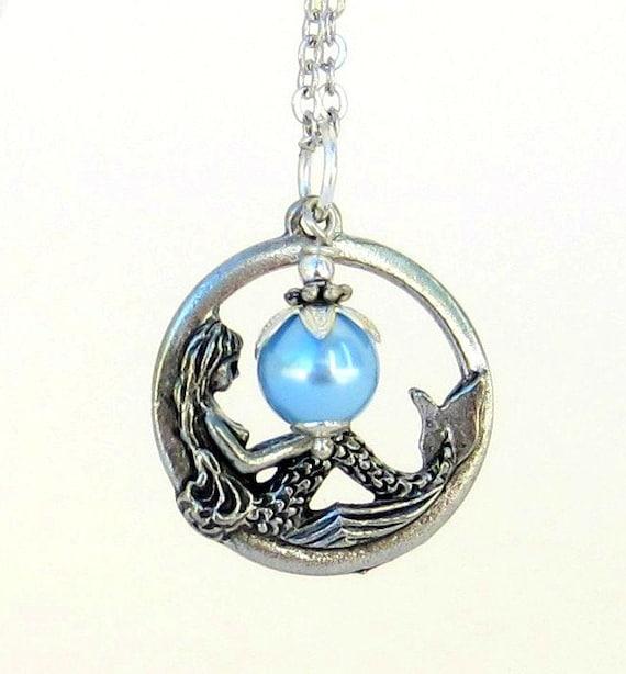 Mermaid Necklace, Ocean, Ariel, Under the Sea, The Little Mermaid, Pewter Charm