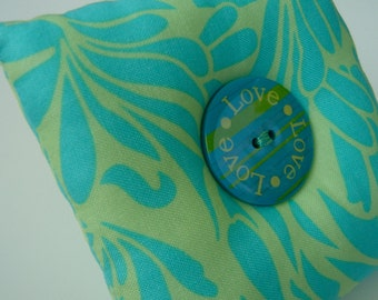 Pincushion Green Leaves With Love Button Amy Butler Fabric