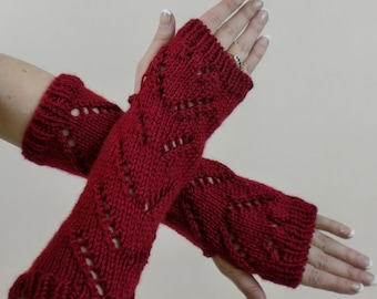 Fingerless Gloves, Red Chevron Lace, Fashion Texting Mitts, Hobo Arm Warmers, Long Wrist Warmer Gauntlets