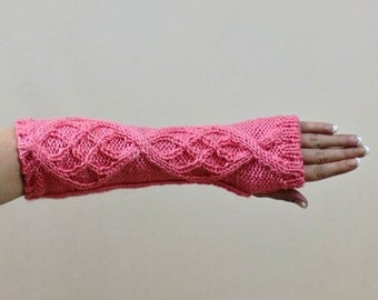 Fingerless Gloves - Pink Arm Warmers - Peach Long Ribbed Fingerless Mittens - Texting Typing Gloves - Fingerless Mitts - Cable Knit
