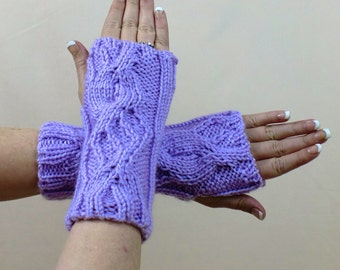 Fingerless Gloves, Purple Ribbed Gloves,  Cable Knit Lavender Fingerless Mitts, Knit Orchid Texting Gloves, Winter Wrist and Arm Warmers