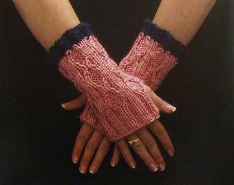 Knit Fingerless Gloves, Pink Blue Arm Warmers, Cable Knit Texting Gloves, Diamond Motif Fingerless Mitts, Hobo Mittens Small Short