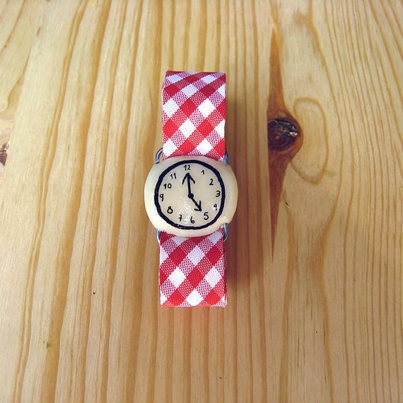 Fake watch bracelet. One-of-a-kind handmade Porcelain toy clock with RED Gingham watchband.