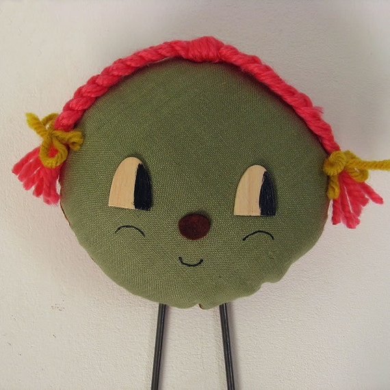 Clarabelle. Decorative wall hanger. One-of-a-kind stuffed doll hook.