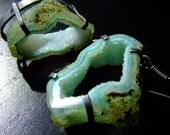 MAR TROPICAL. sea green agate druzy slice Earrings by Beijo Flor