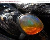50% OFF SALE orange Fire Opal Ring by Beijo Flor