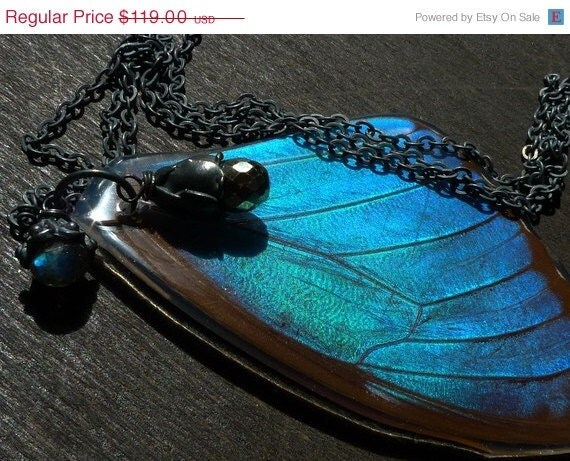 SHOP CLOSING SALE real butterfly Necklace by Beijo Flor
