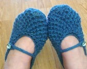 SLIPPERS Knitting PATTERN Instant Download - Bonne Maman Mary Jane House Shoes for WOMEN