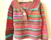 Knitting Pattern Sweater- Jamie Top Down Seamless Jumper (6 Sizes, 0 - 7 yrs)