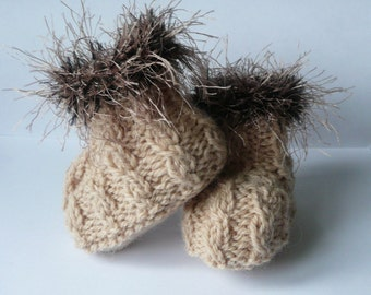 Knitting PATTERN BABY Booties - Fabulously Furry Baby Boots