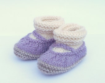 Knitting PATTERN BABY Booties All in One Baby Mary Jane Shoes INSTANT Download