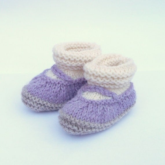 Knitting PATTERN BABY Booties All in One Baby Mary Jane Shoes