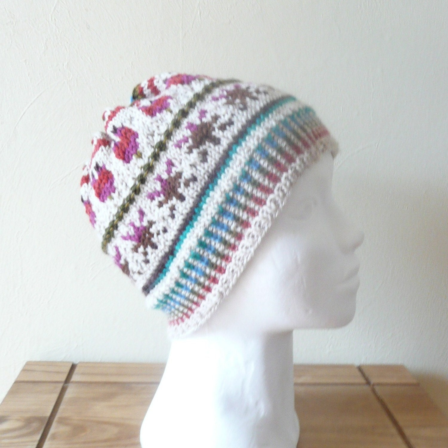 Fair Isle Knitting Hat : Knitting pattern hat beanie primavera fair isle