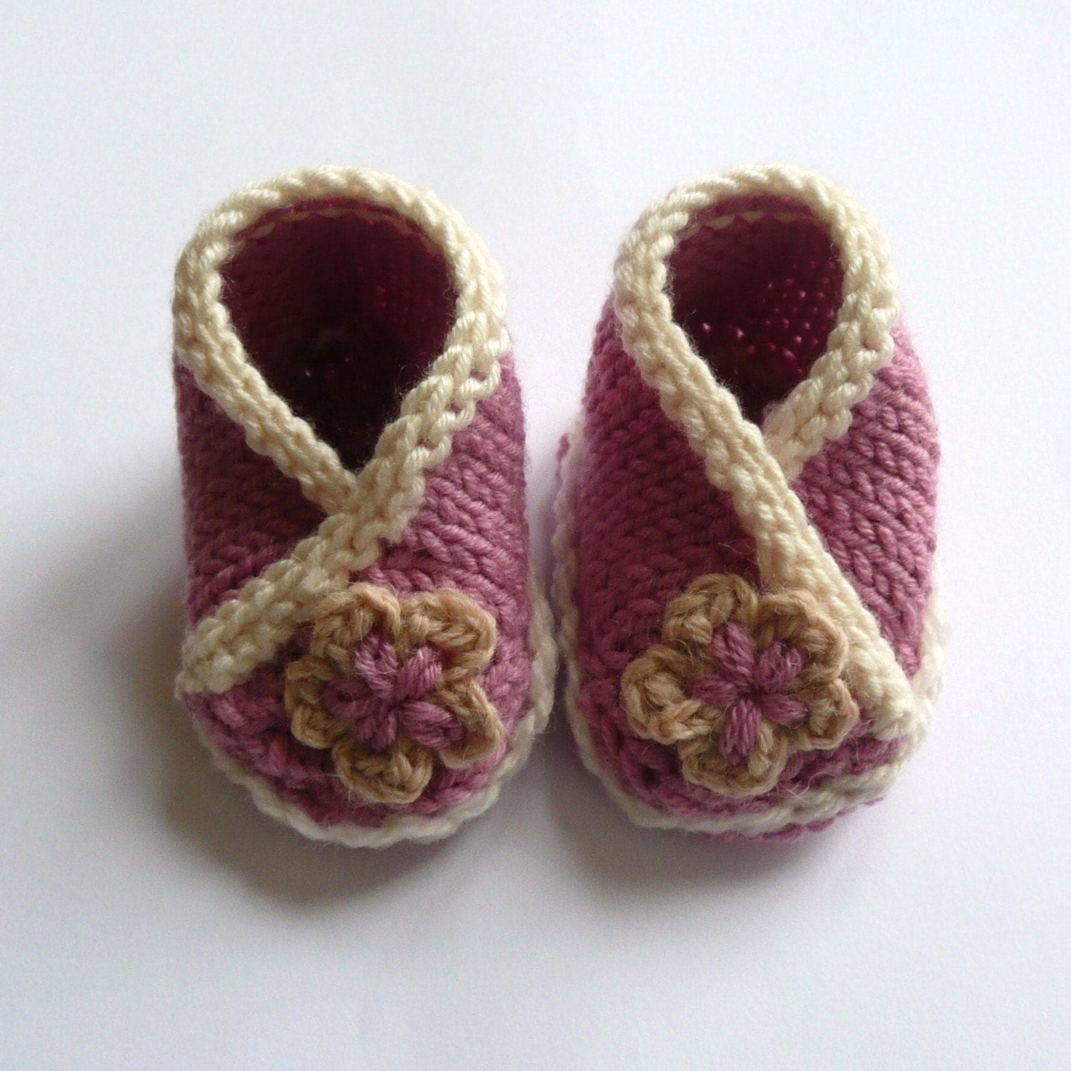 Baby Crossover Booties PDF Knitting pattern.