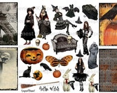 Gothic Halloween Witches Digital Collage Sheet Mixed Media ACEO ATC Backgrounds Halloween Instant Download