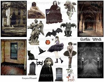 Gothic Witch Halloween ACEO Digital Collage Sheet ATC Mixed Media Instant Download