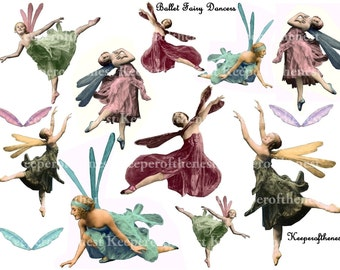 Ballet Fairy Dancers Digital Collage Sheet for Altered Art ATC ACEO Mixed Media